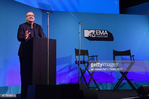 President and CEO Of Viacom International Media David Lynn speaks on stage during the Velocity 'On Set with Viacom' Showcase held at Ambika P3 ahead...