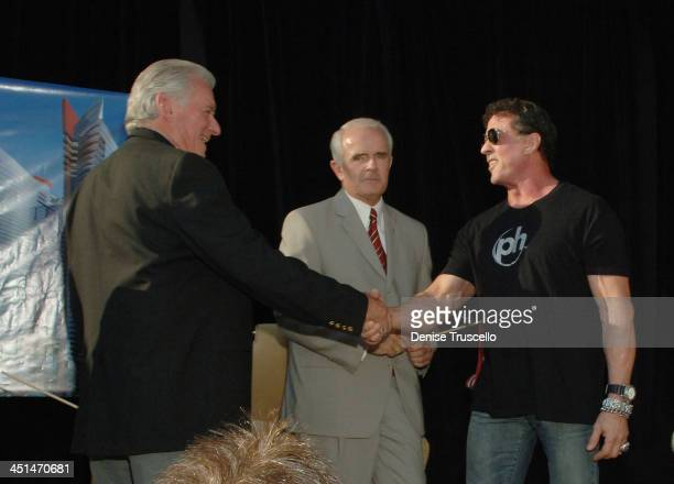 President and CEO of Westgate Resorts David A Siegel Governor Jim Gibbons and actor Sylvester Stallone attend Planet Hollywood Towers by Westgate...