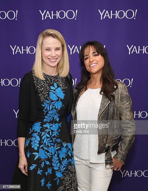 President and CEO of Yahoo Marissa Mayer and actress Michelle Rodriguez attend the 2015 Yahoo Digital Content NewFronts at Avery Fisher Hall on April...