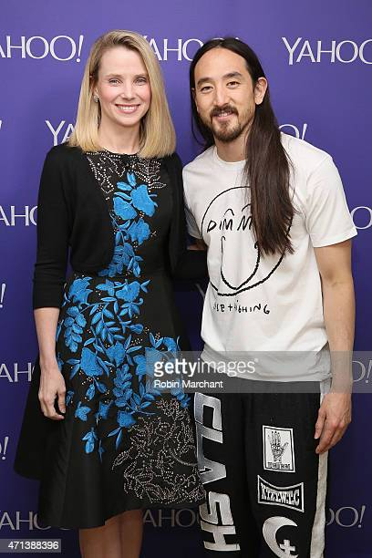 President and CEO of Yahoo Marissa Mayer and musician Steve Aoki attend the 2015 Yahoo Digital Content NewFronts at Avery Fisher Hall on April 27...