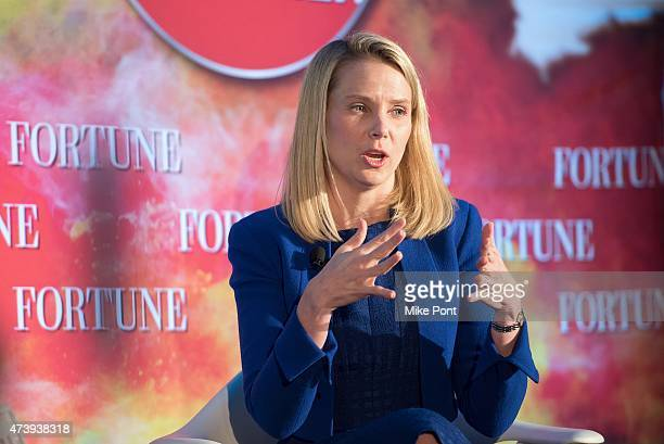 President and CEO of Yahoo Marissa Mayer attends Fortune Magazines 2015 Most Powerful Women Evening With NYC at Time Warner Center on May 18 2015 in...