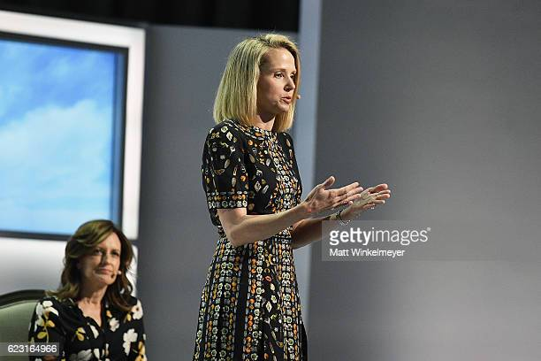 President and CEO of Yahoo Marissa Mayer speaks onsatge at Glamour Women Of The Year 2016 LIVE Summit at NeueHouse Hollywood on November 14 2016 in...