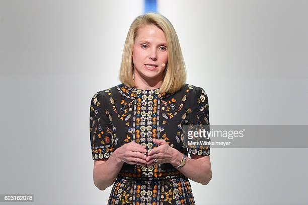 President and CEO of Yahoo Marissa Mayer speaks onstage at Glamour Women Of The Year 2016 LIVE Summit at NeueHouse Hollywood on November 14 2016 in...