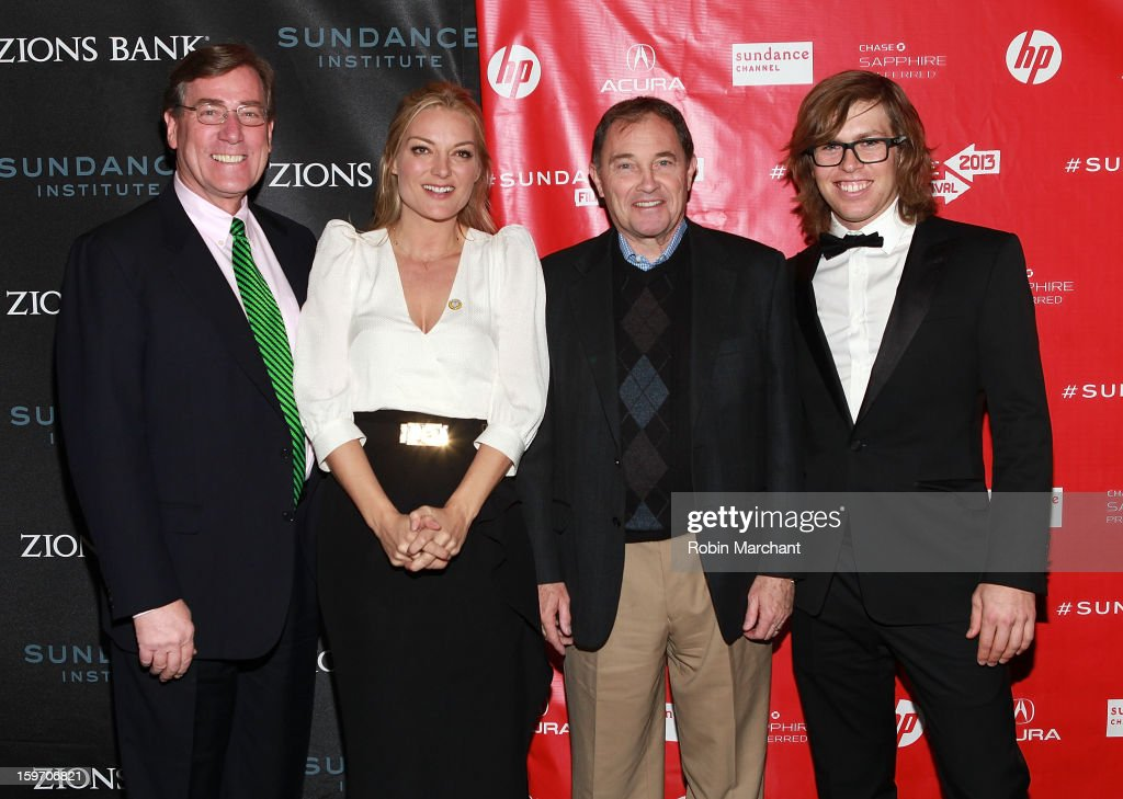 President and CEO of Zions Bank Scott Anderson, Director Lucy Walker, Utah Governor Gary R. Herbert and American snowboarderKevin Pearce attend 'The Crash Reel' Premiere at Rose Wagner Performing Arts Center on January 18, 2013 in Salt Lake City, Utah.