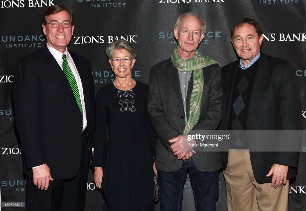 President and CEO of Zions Bank Scott Anderson, Pia Pearce, Simon Pearce and Utah Governor Gary R. Herbert attends 'The Crash Reel' Premiere at Rose Wagner Performing Arts Center on January 18, 2013 in Salt Lake City, Utah.