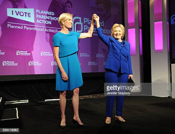 President and CEO Planned Parenthood Cecile Richards and Hillary Clinton onstage at the 2016 Planned Parenthood Annual Gala held during the Planned...