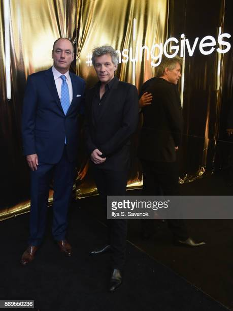 President and CEO Samsung Electronics North America Tim Baxter and Jon Bon Jovi attend the Samsung annual charity gala 2017 at Skylight Clarkson Sq...
