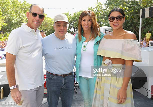 President and CEO Southern Wine and Spirits Wayne Chaplin SOBEWFF founder Lee Schrager creator of YogArt Arlene Chaplin and DJ Hannah Bronfman attend...