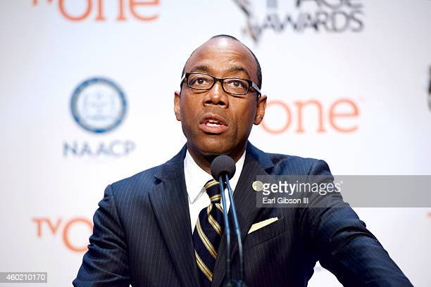 President and CEO speaks at the 46th NAACP Image Awards Press Conference and Nomination Announcement at The Paley Center for Media on December 9,...