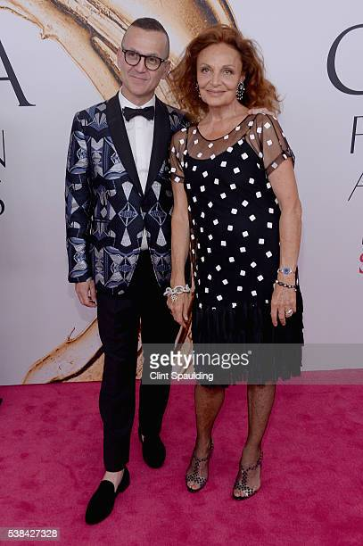 President and CEO Steven Kolb and designer Diane von Furstenberg attend the 2016 CFDA Fashion Awards at the Hammerstein Ballroom on June 6 2016 in...