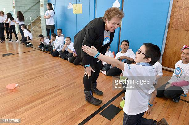 President and CEO US Fund for UNICEF Caryl Stern participates with students during the UNICEF Kid Power kick off in Boston with Boston Celtics Guard...