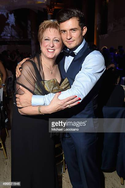 President and CEO US Fund for UNICEF Caryl Stern poses with UNICEF Goodwill Ambassador Honoree Audrey Hepburn Humanitarian Award Orlando Bloom at the...