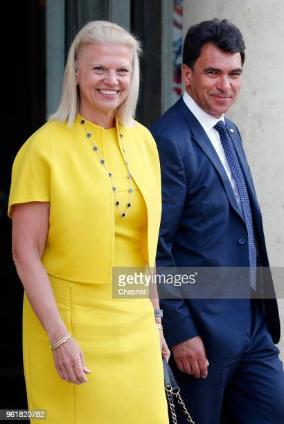 President and CEO Virginia Rometty and IBM France CEO Nicolas Sekkaki leave the Elysee Presidential Palace after a meeting with French President...