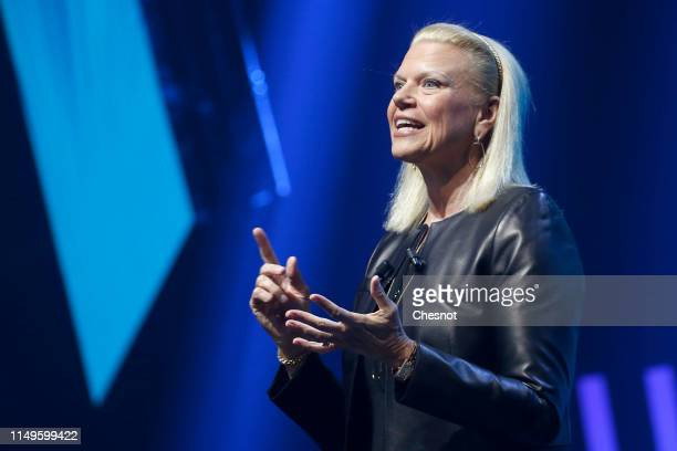 President and CEO Virginia Rometty delivers a speech to participants during the 4th edition of the Viva Technology show at Parc des Expositions Porte...