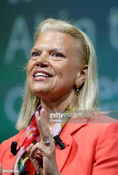 President and CEO Virginia Rometty delivers a speech to participants during the Viva Technologie show at Parc des Expositions Porte de Versailles on...