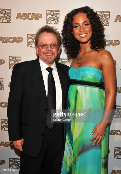 ASCAP president and chairman Paul Williams and singer Alicia Keys pose in the press room during the 22nd annual ASCAP Rhythm and Soul Awards held at...