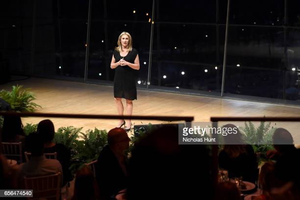 President and Chief Executive Officer AE Networks Nancy Dubuc speaks at the 2017 AE Networks Upfront At Jazz At Lincoln Center's Frederick P Rose...
