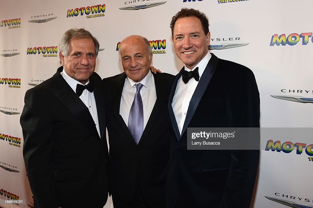 President and Chief Executive Officer of CBS Corporation Leslie Moonves, Chairman and CEO of Sony Music Entertainment Doug Morris, and Producer Kevin McCollum attend 'Motown: The Musical' Opening Night at Lunt-Fontanne Theatre on April 14, 2013 in New York City.