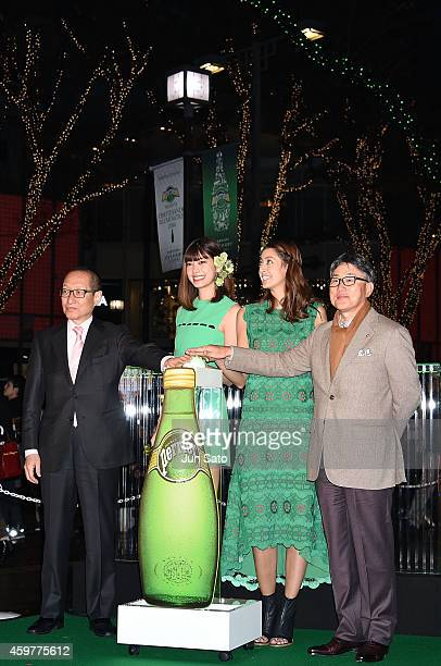 President and Chief Executive Officer of Nestle Japan Kozo Takaoka models Hikari Mori and Izumi Mori attend the Omotesando Illumination Lighting...