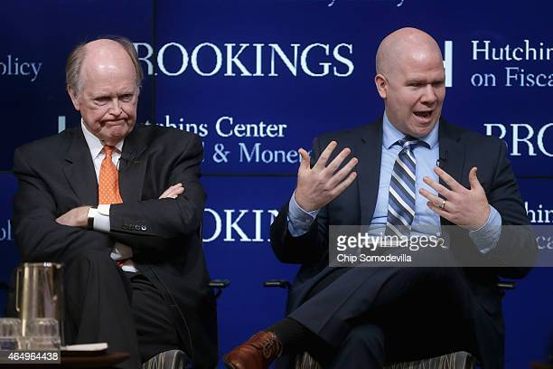 President and Chief Executive Officer of the Federal Reserve Bank of Philadelphia Charles Plosser and Peter ContiBrown participate in a panel...