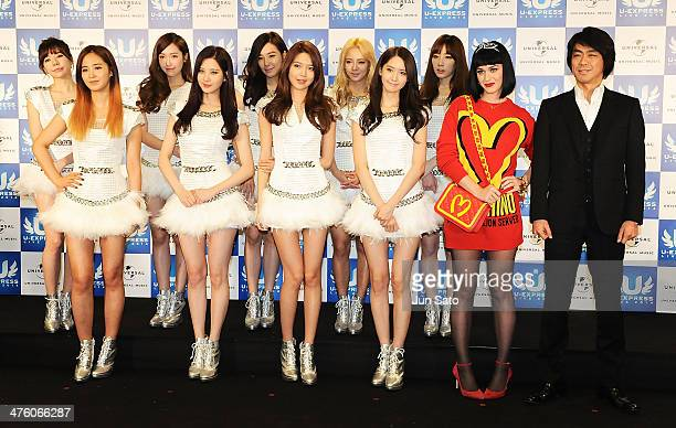 President and Chief Executive Officer of Universal Music LLC Naoshi Fujikura, Singer Katy Perry and Girls' Generation attend U-Express Live 2014...