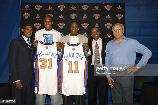 President and Chief Operating Officer for MSG Sports Steve Mills President of the New York Knicks Isiah Thomas and head coach Lenny Wilkens of the...