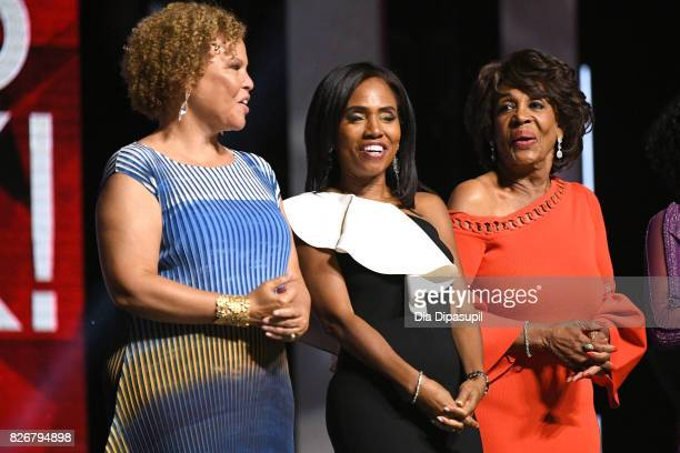 President and Chief Operating Officer of BET Holdings Inc Debra L Lee Honoree Suzanne Shank and Honoree Congresswoman Maxine Waters attends Black...