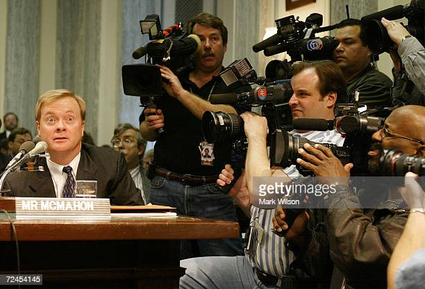 President and Chief Operating Officer of the Enron Corporation Jeffrey McMahon testifies before the Senate Committee on Commerce Science and...