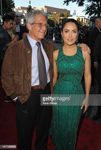 President and Chief Operating Officer of Universal Studios Ron Meyer and actress Salma Hayek arrive at Premiere of Universal Pictures' 'Savages' at...