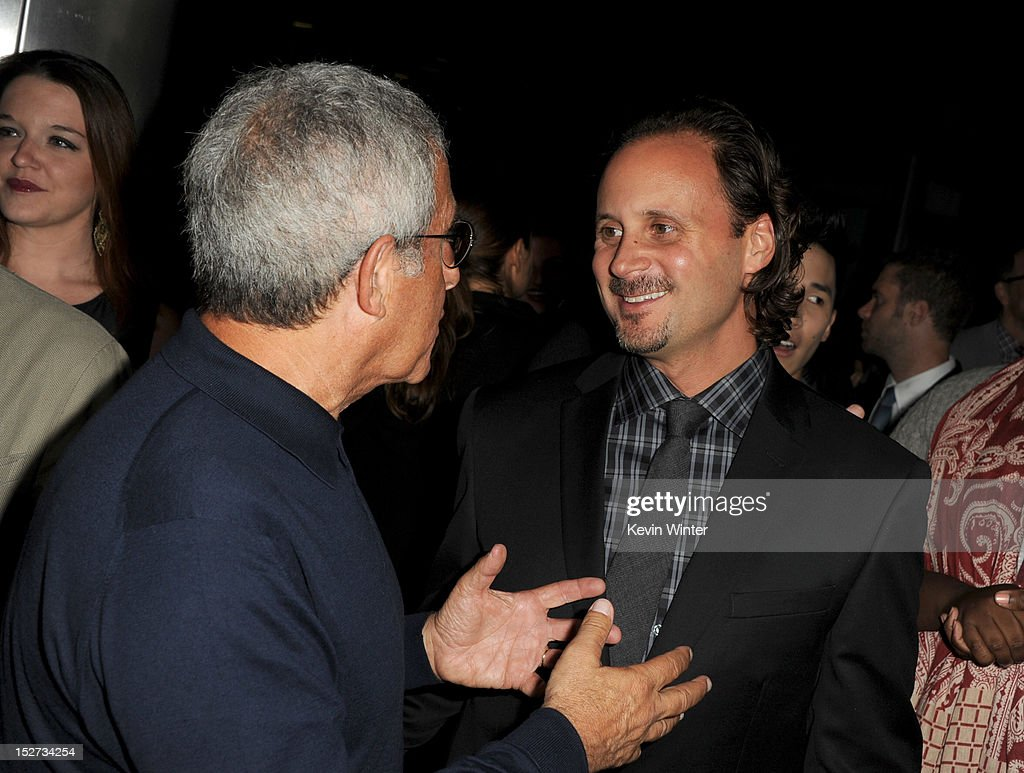 President and Chief Operating Officer of Universal Studios Ron Meyer (L) and Music Group president of film music publishing Mike Knobloch arrive at the premiere of Universal Pictures And Gold Circle Films' 'Pitch Perfect' at ArcLight Cinemas on September 24, 2012 in Hollywood, California.