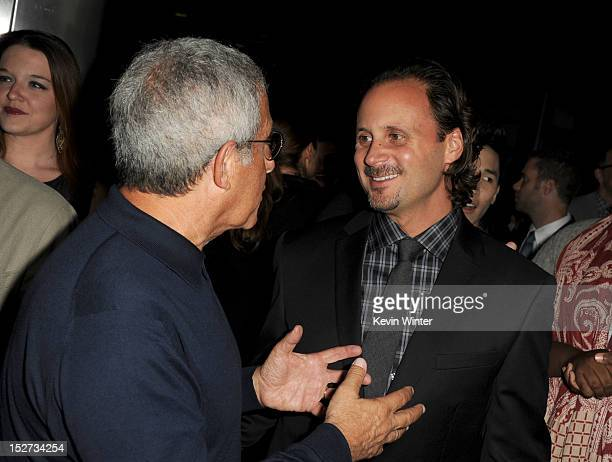 President and Chief Operating Officer of Universal Studios Ron Meyer and Music Group president of film music publishing Mike Knobloch arrive at the...