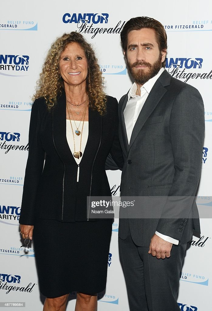 President and Co- Founder of the Cantor Fitzgerald Relief Fund Edie Lutnick and actor Jake Gyllenhaal attend the annual Charity Day hosted by Cantor Fitzgerald and BGC at Cantor Fitzgerald on September 11, 2015 in New York City.