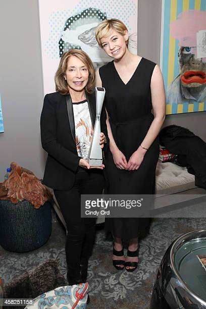 President and cofounder of SCAD Paula Wallace and actress Analeigh Tipton pose with the 'Rising Star Award' during the 17th Annual Savannah Film...