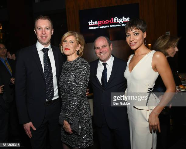 President and COO of CBS Interactive Marc DeBevoise Christine Baranski President of CBS David Stapt and Cush Jumbo attend The Good Fight World...