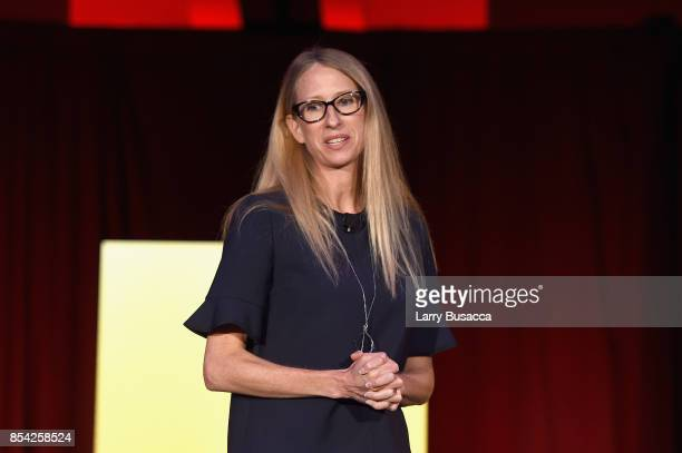 President and COO of Virgin Media Dana Strong speaks onstage during the WICT Leadership Conference at Marriott Marquis Times Square on September 26...