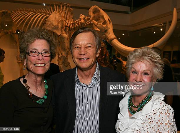 NHM President and Director Dr Jane Pisano actor Michael York and artist Pat York pose during the Mingle With The Mammals VIP reception to open the...