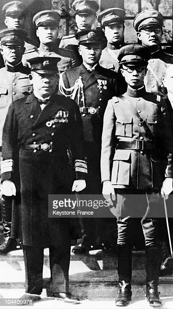President and Emperor of Manchukuo Henry PUYI appearing for the first time in military uniform on the occasion of a meeting in Shinking with...