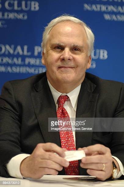 President and founder of FedEX Fred Smith talks with journalists about his involvement in conserving energy at the National Press Club in Washington...