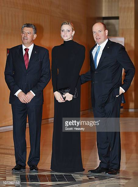President and Founder of Peace and Sport Joel Bouzou Prince Albert II of Monaco and Charlene Wittstock arrive at the Gala dinner of the Peace Sport...