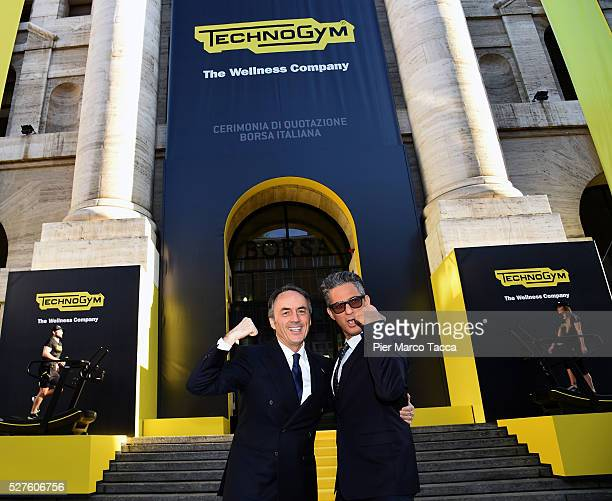 President and founder of Technogym Nerio Alessandri and Rosario Fiorello attend the Technogym Listing Ceremony at Palazzo Mezzanotte on May 3 2016 in...