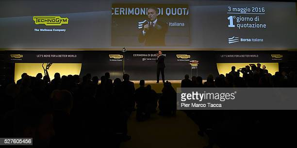 President and founder of Technogym Nerio Alessandri talks during the Technogym Listing Ceremony at Palazzo Mezzanotte on May 3 2016 in Milan Italy...