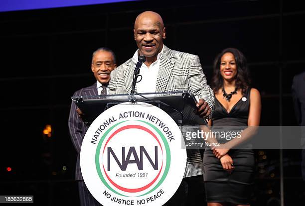 President and founder of the National Action Network Reverend Al Sharpton honoree and former boxing world champion Mike Tyson and Aisha McShaw attend...