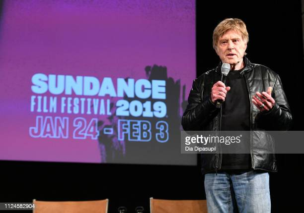 President and Founder Sundance Institute Robert Redford attends the 2019 Sundance Film Festival Day One Press Conference at Egyptian Theatre on...