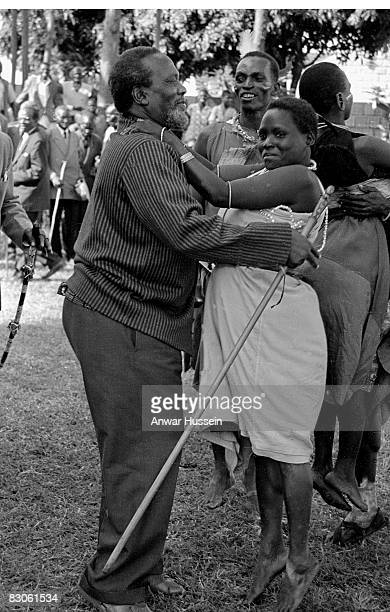 President and founding father of Kenya Jomo Kenyatta attends a ceremony in 1964 in Nairobi Kenya