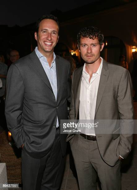 President and general manager Charlie Collierand actor James Badge Dale attend the 2009 TCA AMC cocktail reception at The Langham Huntington Hotel on...