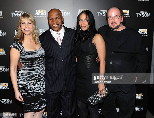 President and General Manager of Animal Planet Media Marjorie Kaplan boxer Mike Tyson Lakiha Spicer and James Toback attend the Taking on Tyson New...
