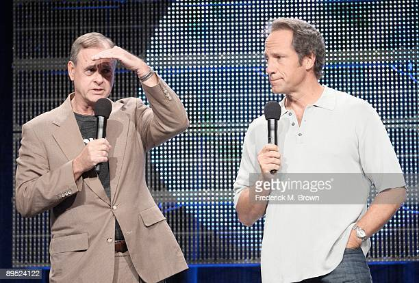 President and General Manager of Discovery Channel John Ford and Mike Rowe of the television show 'Dirty Jobs' speak during the Cable portion of the...