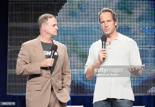 President and General Manager of Discovery Channel John Ford and Mike Rowe of the television show 'Dirty Jobs' speaks during the Cable portion of the...