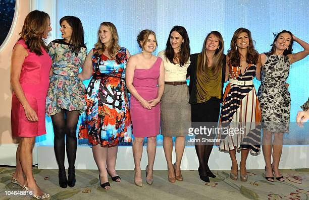 President and General Manager of Lifetime Networks Nancy Dubuc and honorees actress Katie Holmes 'Pandora's Project' founder Shannon Lambert actress...