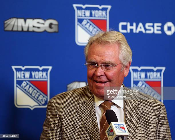 President and General Manager of the New York Rangers Glen Sather addresses the media prior to the game against the Nashville Predators at Madison...